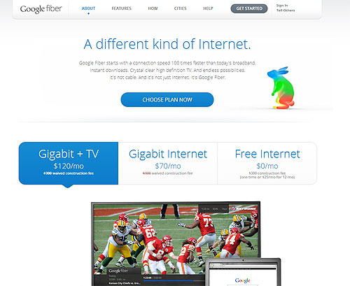 GoogleFiberのトップページ